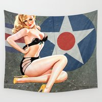aviation Wall Tapestries featuring WWII Nose Art Aviation Vintage Pinup Girl by Pinup Lighters