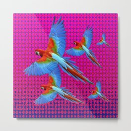 FLIGHT OF BLUE MACAWS IN FUCHSIA OPTICS Metal Print