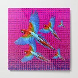 FLIGHT OF BLUE MACAWS IN FUCHSIA OPTICS Metal Print