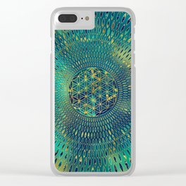 Flower of life Marble and gold Clear iPhone Case