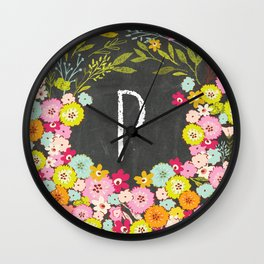 P botanical monogram. Letter initial with colorful flowers on a chalkboard background Wall Clock