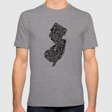 Typographic New Jersey Tri-Grey Mens Fitted Tee LARGE