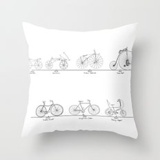 Evolution of Bicycles Throw Pillow