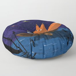 Fox & Duck Looking For Dragonflies Floor Pillow
