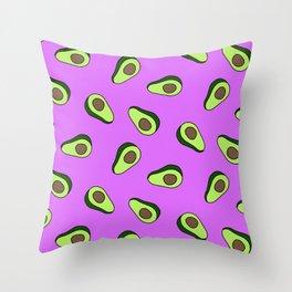 Pink Bright Vibrant Avocado Print Throw Pillow