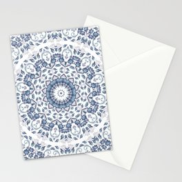 Grayish Blue White Flowers Mandala Stationery Cards