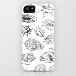 collection of sea shells, black contour on white background iPhone Case