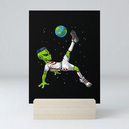 Space Alien Soccer Player Mini Art Print