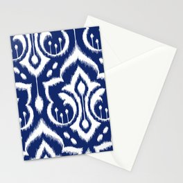 Ikat Damask Navy 2 Stationery Cards
