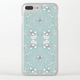 Acorns and Ladybugs blue pattern Clear iPhone Case