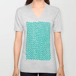 Hand Knit Aqua Unisex V-Neck