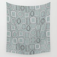 frames Wall Tapestries featuring picture frames grey by Sharon Turner