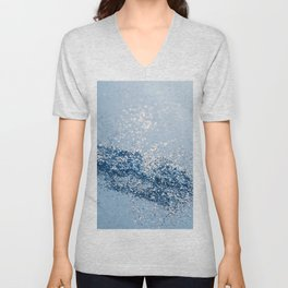 Sparkling Classic Blue Ocean Lady Glitter #1 (Faux Glitter) #shiny #decor #art #society6 Unisex V-Neck