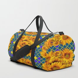 BLOCKS OF YELLOW SUNFLOWERS ON TEAL & PURPLE PATTERN Duffle Bag