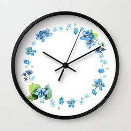 Watercolor forget me nots Wall Clock