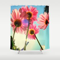mandie manzano Shower Curtains featuring dancing in the sun by RichCaspian