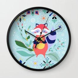 Happy Raccoon Card Wall Clock