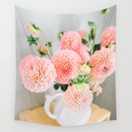 Coral Dahlias 01 Wall Tapestry