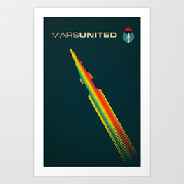 MarsUnited Rainbow Rocket Art Print