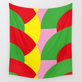 People swimming in a Pink Swimming Pool probably. Red and Green faces. Wall Tapestry