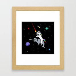 Unicorn Riding Narwhal In Space Framed Art Print