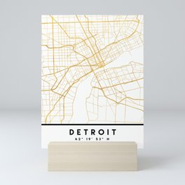 DETROIT MICHIGAN CITY STREET MAP ART Mini Art Print