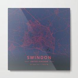 Swindon, United Kingdom - Neon Metal Print