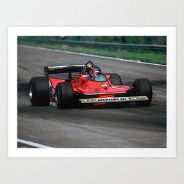 Sketch of F1 Champion Gilles Villeneuve - year 1979 car 312 T4 Art Print