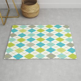 Retro 1980s Argyle Geometric Pattern in Modern Bright Colors Blue Green and Gray Rug