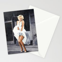 The Seven Year Itch, Marilyn in a White Dress Subway Grate Scene portrait painting Stationery Cards