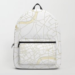 White on Yellow Gold London Street Map Backpack