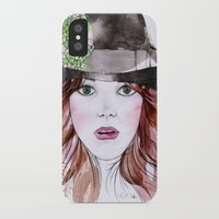 emma stone iPhone & iPod Cases featuring Emma Stone by Vicky Ink.