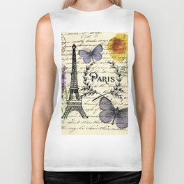 french botanical print purple butterfly lavender floral paris eiffel tower Biker Tank