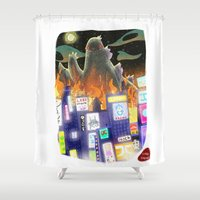 godzilla Shower Curtains featuring Godzilla by David Pavon