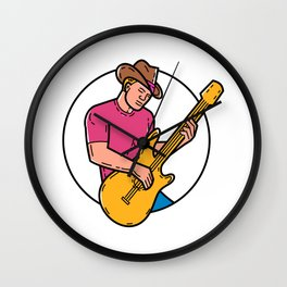 Cowboy Rocker Guitarist Mono Line Art Wall Clock