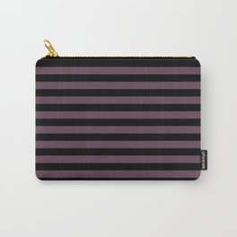 Eggplant Violet and Black Horizontal Stripes Carry-All Pouch