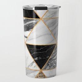 Marble Triangles 2 - Black and White Travel Mug