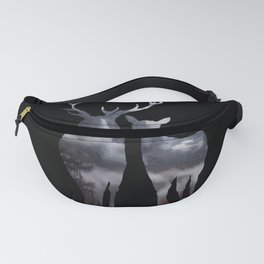 Forest deer family black pattern Fanny Pack