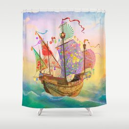 The Dreamship Gallivant Shower Curtain
