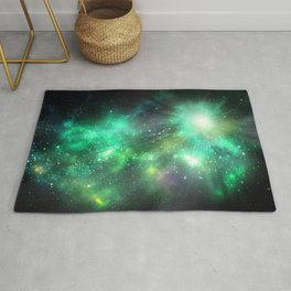 Abstract Nebula #4: Green, Light ray Rug