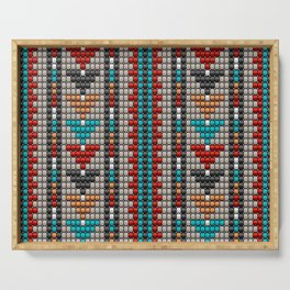 Stitched colorful aztec motif pattern Serving Tray