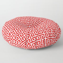 Red and White Greek Key Pattern Floor Pillow