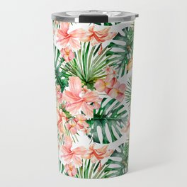 Tropical Jungle Hibiscus Flowers - Floral Travel Mug