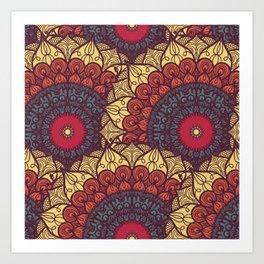 Mandala pattern #7 - sand, yellow, red Art Print