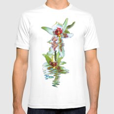 Green flowered Cymbidium Mens Fitted Tee SMALL White