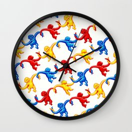 Monkey Toy Pattern Wall Clock