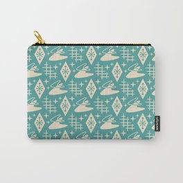 Mid Century Modern Boomerang Abstract Pattern Turquoise and Tan 261 Carry-All Pouch
