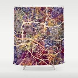 Glasgow City Scotland Street Map Shower Curtain