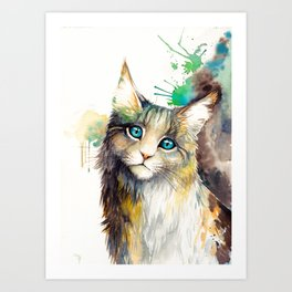 Watercolor cat Art Print