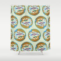 frog Shower Curtains featuring Frog by M. Noelle Studios